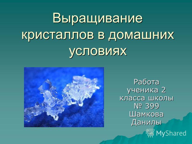 Выращивание кристаллов в домашних условиях Работа ученика 2 класса школы 399 Шамкова Данилы