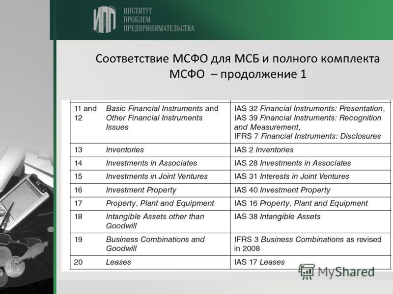 Соответствие МСФО для МСБ и полного комплекта МСФО – продолжение 1