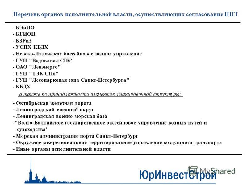 Перечень органов исполнительной власти, осуществляющих согласование ППТ - КЭиИО - КГИОП - КЗРиЗ - УСПХ КБДХ - Невско-Ладожское бассейновое водное управление - ГУП