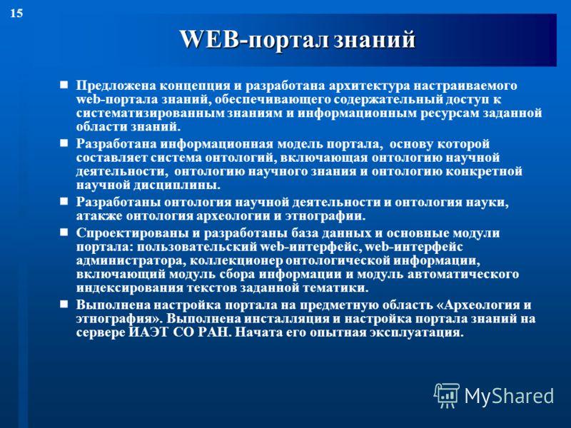 15 WEB-портал знаний Предложена концепция и разработана архитектура настраиваемого web-портала знаний, обеспечивающего содержательный доступ к систематизированным знаниям и информационным ресурсам заданной области знаний. Разработана информационная м