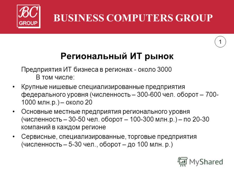Региональный ИТ рынок Предприятия ИТ бизнеса в регионах - около 3000 В том числе: Крупные нишевые специализированные предприятия федерального уровня (численность – 300-600 чел. оборот – 700- 1000 млн.р.) – около 20 Основные местные предприятия регион