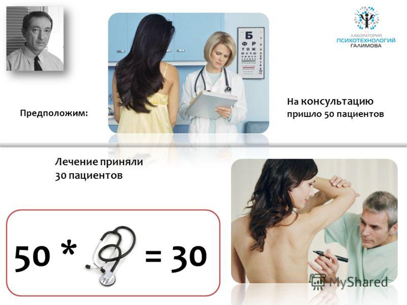 На консультацию пришло 50 пациентов 50 *= 30 Лечение приняли 30 пациентов Предположим: