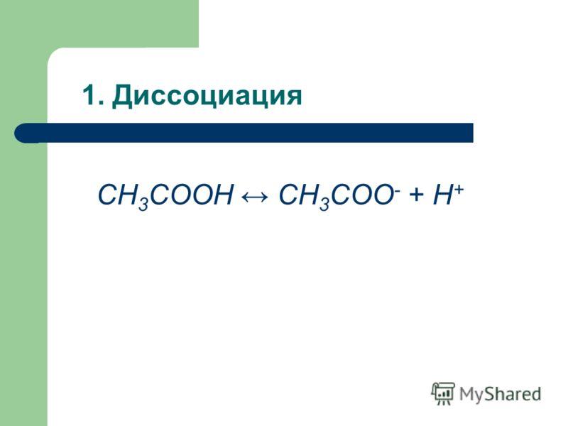 1. Диссоциация СН 3 COOH СН 3 COO - + H +