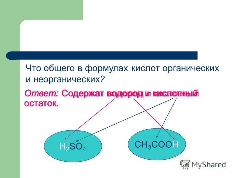 Ответ: Содержат водород и кислотный остаток. H 2 SO 4 CH 3 COOH Что общего в формулах кислот органических и неорганических? Ответ: Содержат водород и кислотный остаток. CH 3 COOH Ответ: Содержат водород и кислотный остаток. H 2 SO 4 CH 3 COOH Ответ: