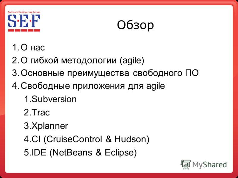 Обзор 1.О нас 2.О гибкой методологии (agile) 3.Основные преимущества свободного ПО 4.Свободные приложения для agile 1.Subversion 2.Trac 3.Xplanner 4.CI (CruiseControl & Hudson) 5.IDE (NetBeans & Eclipse)