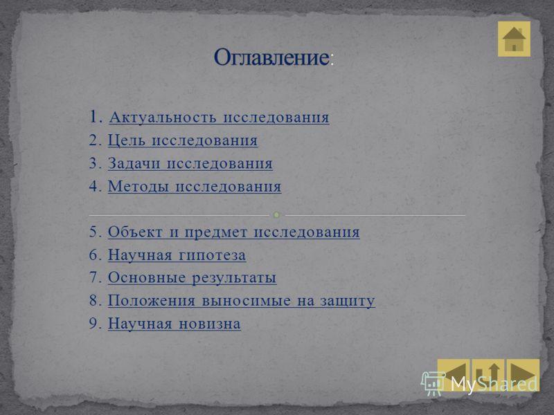 1. Актуальность исследования 2. Цель исследования 3. Задачи исследования 4. Методы исследования 5. Объект и предмет исследования 6. Научная гипотеза 7. Основные результаты 8. Положения выносимые на защиту 9. Научная новизна