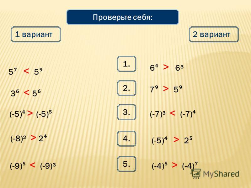 Математический диктант 1 вариант2 вариант 1. 5 и 5 6 и 6³ 2. 3 и 5 7 и 5 3. (-5) и (-5) (-7)³ и (-7) 4. (-8)² и 2 (-9) и (-9)³ (-5) и 2 5. (-4) и (-4) Сравните выражения