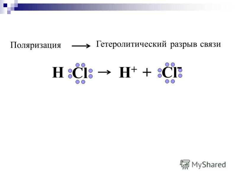 Поляризация Гетеролитический разрыв связи H Cl H + +Cl -