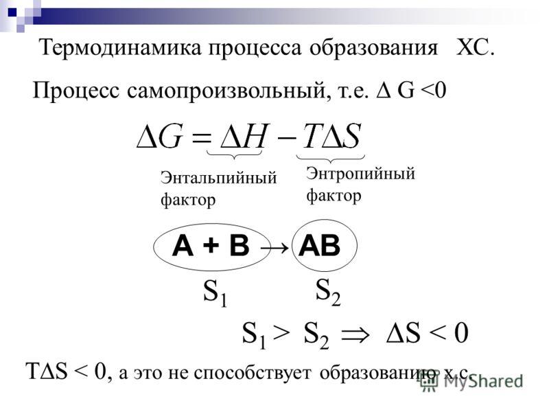Термодинамика процесса образования ХС. Энтальпийный фактор Энтропийный фактор Процесс самопроизвольный, т.е. G  S 2 S < 0 ТS < 0, а это не способствует образованию х.с.