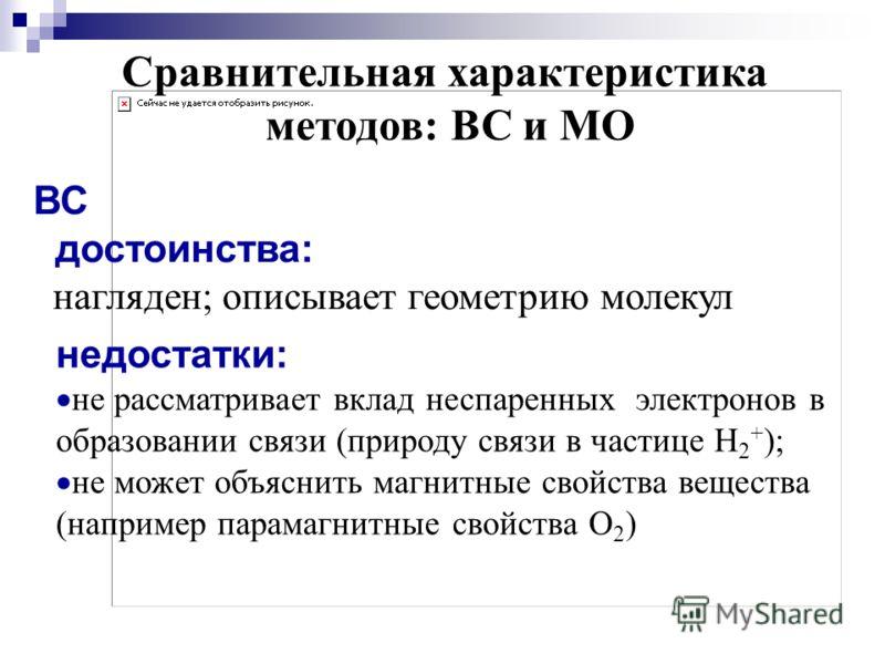 Сравнительная характеристика методов: ВС и МО ВС достоинства: нагляден; описывает геометрию молекул недостатки: не рассматривает вклад неспаренных электронов в образовании связи (природу связи в частице Н 2 + ); не может объяснить магнитные свойства