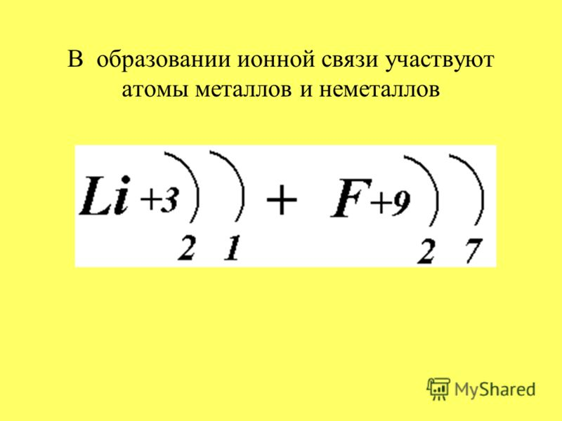 В образовании ионной связи участвуют атомы металлов и неметаллов