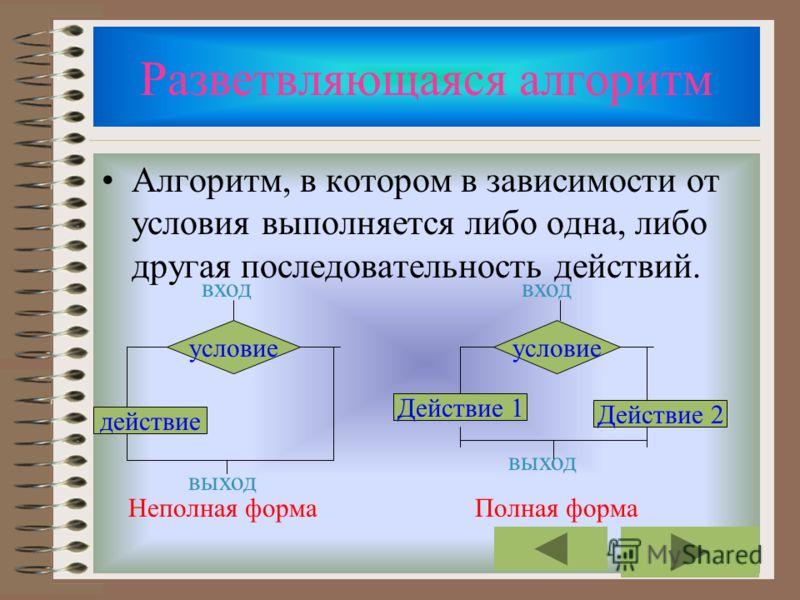 Линейная Если блоки алгоритма (команды, математические действия и.д.) выполняются последовательно друг с другом. Алгоритмы линейной структуры не содержат условных и безусловных переходов. начало Действие 1 Действие 2 Действие N конец