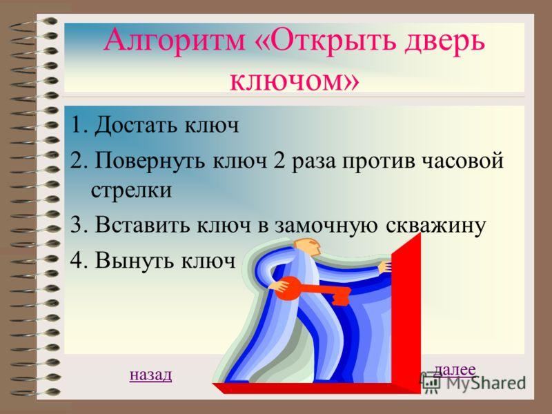 Алгоритм «Открыть дверь ключом» 1 Достать ключ 2 Вставить ключ в замочную скважину 3 Повернуть ключ 2 раза против часовой стрелки 4 Вынуть ключ Обратный пример