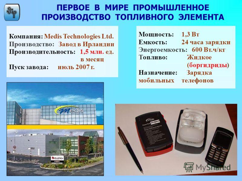 ПЕРВОЕ В МИРЕ ПРОМЫШЛЕННОЕ ПРОИЗВОДСТВО ТОПЛИВНОГО ЭЛЕМЕНТА Компания: Medis Technologies Ltd. Производство: Завод в Ирландии Производительность: 1,5 млн. ед. в месяц Пуск завода: июль 2007 г. Мощность: 1,3 Вт Емкость: 24 часа зарядки Энергоемкость: 6