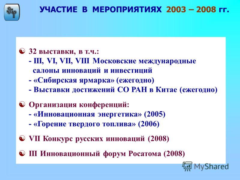УЧАСТИЕ В МЕРОПРИЯТИЯХ 2003 – 2008 гг. [32 выставки, в т.ч.: - III, VI, VII, VIII Московские международные салоны инноваций и инвестиций - «Сибирская ярмарка» (ежегодно) - Выставки достижений СО РАН в Китае (ежегодно) [Организация конференций: - «Инн