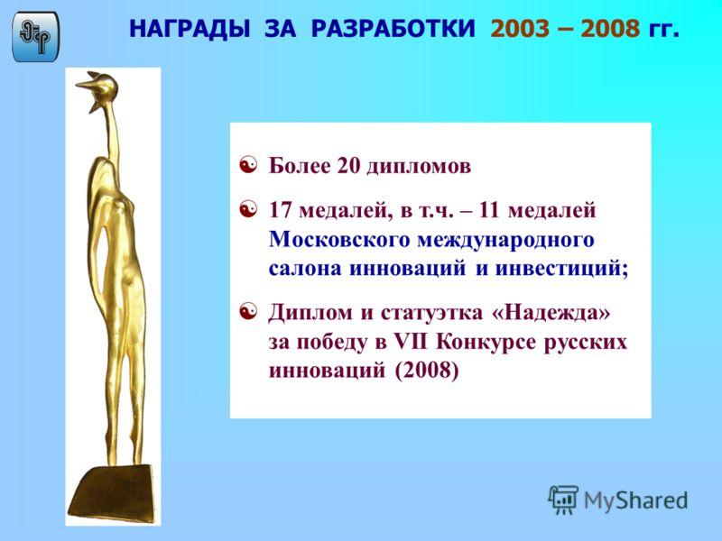 НАГРАДЫ ЗА РАЗРАБОТКИ 2003 – 2008 гг. [Более 20 дипломов [17 медалей, в т.ч. – 11 медалей Московского международного салона инноваций и инвестиций; [Диплом и статуэтка «Надежда» за победу в VII Конкурсе русских инноваций (2008)