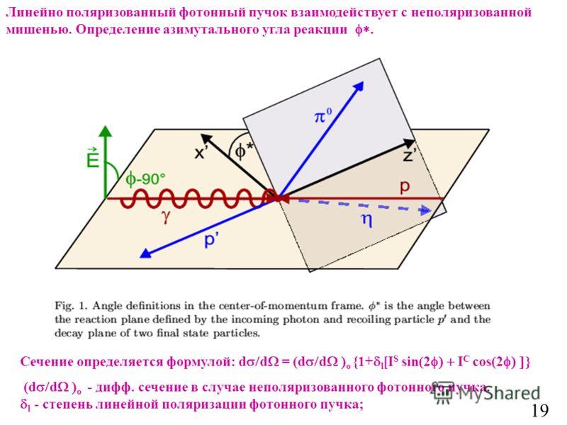 19 Линейно поляризованный фотонный пучок взаимодействует с неполяризованной мишенью. Определение азимутального угла реакции. Сечение определяется формулой: d d = (d d o {1+ l [I S sin(2 I C cos(2 (d d o - дифф. сечение в случае неполяризованного фото