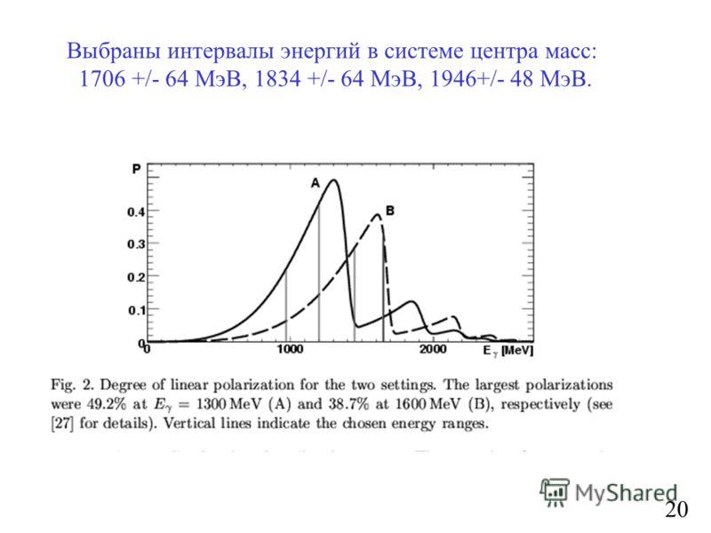 20 Выбраны интервалы энергий в системе центра масс: 1706 +/- 64 МэВ, 1834 +/- 64 МэВ, 1946+/- 48 МэВ.