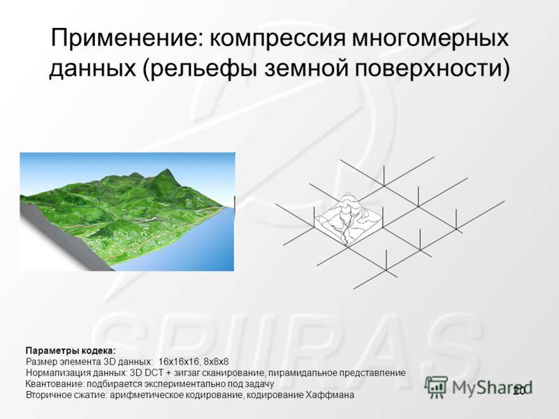Применение: компрессия многомерных данных (рельефы земной поверхности) Параметры кодека: Размер элемента 3D данных: 16x16x16, 8x8x8 Нормализация данных: 3D DCT + зигзаг сканирование, пирамидальное представление Квантование: подбирается эксперименталь