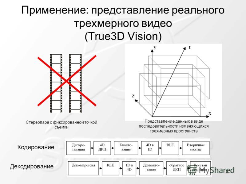 Применение: представление реального трехмерного видео (True3D Vision) Кодирование Стереопара с фиксированной точкой съемки Представление данных в виде последовательности изменяющихся трехмерных пространств Декодирование 21