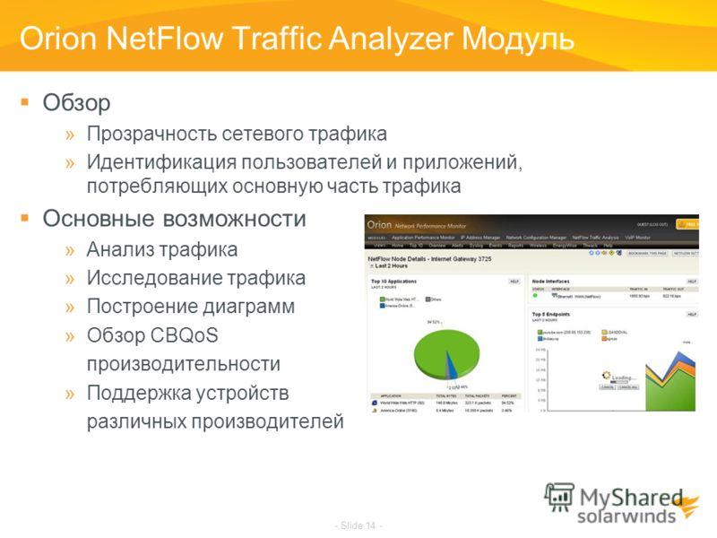 - Slide 14 - Orion NetFlow Traffic Analyzer Модуль Обзор »Прозрачность сетевого трафика »Идентификация пользователей и приложений, потребляющих основную часть трафика Основные возможности »Анализ трафика »Исследование трафика »Построение диаграмм »Об