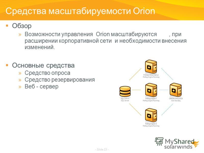 - Slide 23 - Средства масштабируемости Orion Обзор »Возможности управления Orion масштабируются, при расширении корпоративной сети и необходимости внесения изменений. Основные средства »Средство опроса »Средство резервирования »Веб - сервер