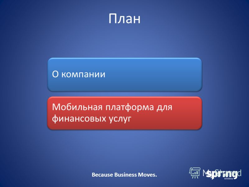 Because Business Moves. План О компании Мобильная платформа для финансовых услуг