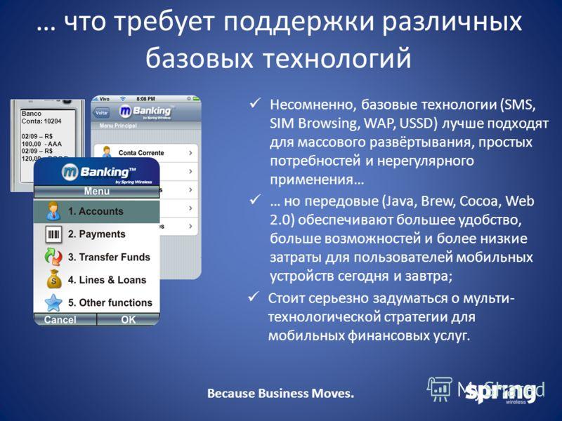 Because Business Moves. … что требует поддержки различных базовых технологий Несомненно, базовые технологии (SMS, SIM Browsing, WAP, USSD) лучше подходят для массового развёртывания, простых потребностей и нерегулярного применения… Banco Conta: 10204