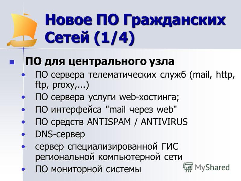 Новое ПО Гражданских Сетей (1/4) ПО для центрального узла ПО для центрального узла ПО сервера телематических служб (mail, http, ftp, proxy,...)ПО сервера телематических служб (mail, http, ftp, proxy,...) ПО сервера услуги web-хостинга;ПО сервера услу