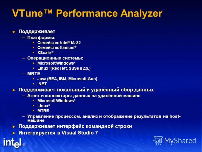 VTune Performance Analyzer Поддерживает Поддерживает –Платформы: Семейство Intel ® IA-32 Семейство Intel ® IA-32 Семейство Itanium ® Семейство Itanium ® XScale ® XScale ® –Операционные системы: Microsoft Windows* Microsoft Windows* Linux* (Red Hat, S
