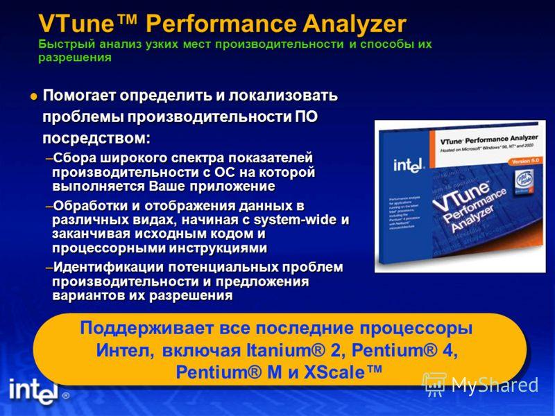 VTune Performance Analyzer VTune Performance Analyzer Быстрый анализ узких мест производительности и способы их разрешения Помогает определить и локализовать Помогает определить и локализовать проблемы производительности ПО проблемы производительност
