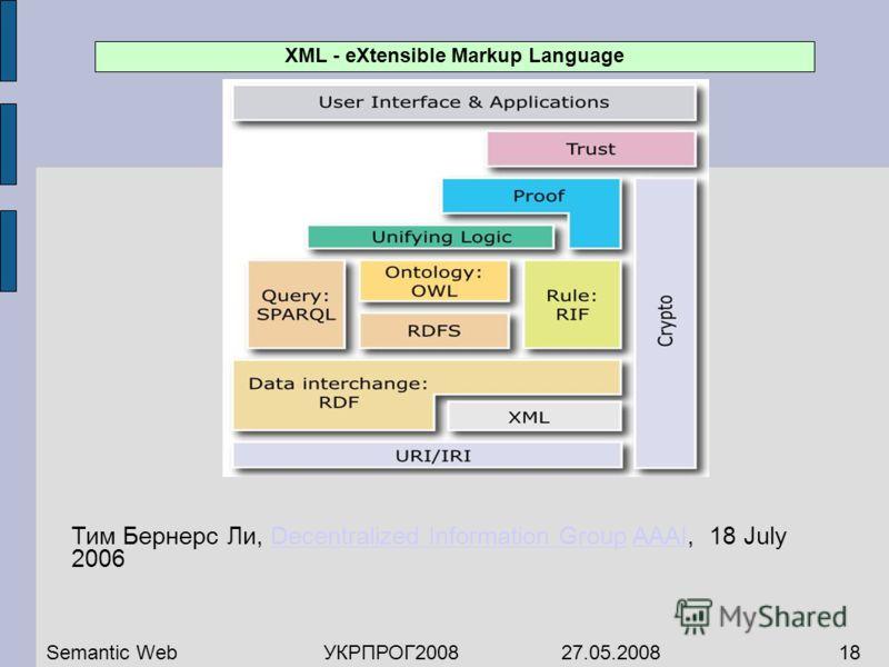 Тим Бернерс Ли, Decentralized Information Group AAAI, 18 July 2006Decentralized Information GroupAAAI Semantic WebУКРПРОГ2008 27.05.200818 XML - eXtensible Markup Language