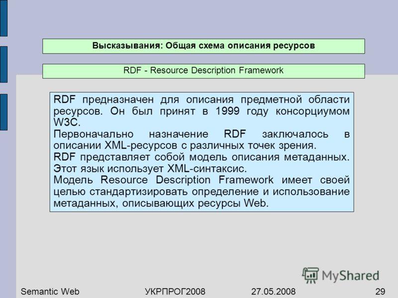 RDF предназначен для описания предметной области ресурсов. Он был принят в 1999 году консорциумом W3C. Первоначально назначение RDF заключалось в описании XML-ресурсов с различных точек зрения. RDF представляет собой модель описания метаданных. Этот