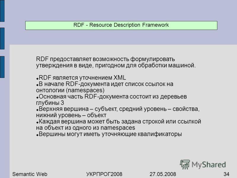RDF предоставляет возможность формулировать утверждения в виде, пригодном для обработки машиной. RDF является уточнением XML В начале RDF-документа идет список ссылок на онтологии (namespaces) Основная часть RDF-документа состоит из деревьев глубины