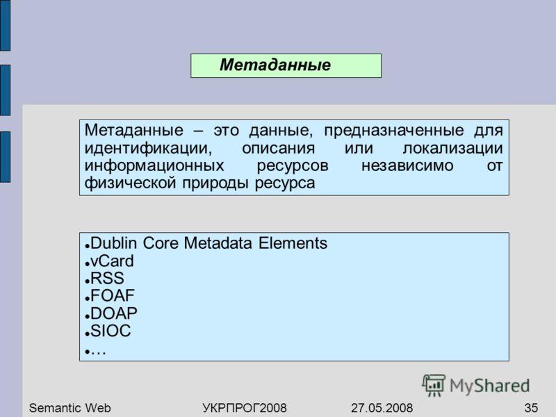 Метаданные Метаданные – это данные, предназначенные для идентификации, описания или локализации информационных ресурсов независимо от физической природы ресурса Semantic WebУКРПРОГ2008 27.05.200835 Dublin Core Metadata Elements vCard RSS FOAF DOAP SI