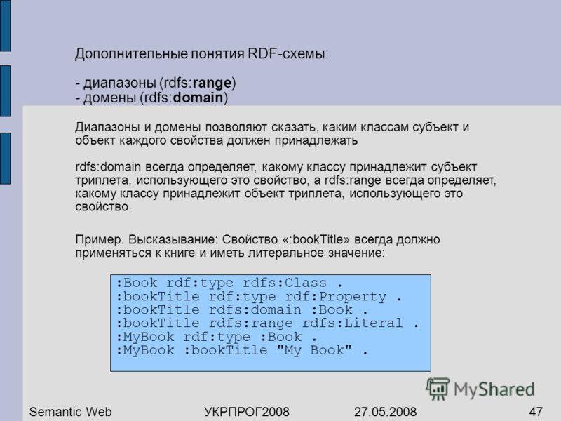Дополнительные понятия RDF-схемы: - диапазоны (rdfs:range) - домены (rdfs:domain) Диапазоны и домены позволяют сказать, каким классам субъект и объект каждого свойства должен принадлежать rdfs:domain всегда определяет, какому классу принадлежит субъе