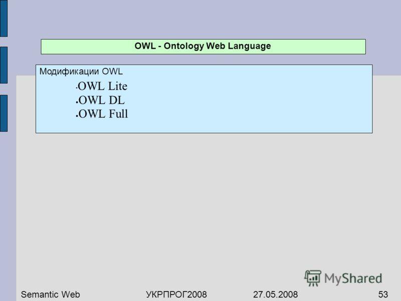 OWL - Ontology Web Language Модификации OWL OWL Lite OWL DL OWL Full Semantic WebУКРПРОГ2008 27.05.200853