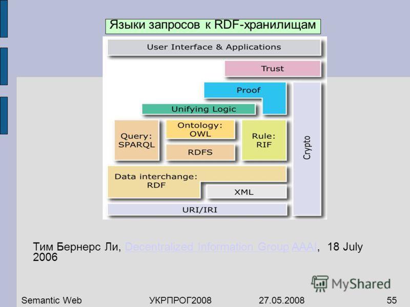 Тим Бернерс Ли, Decentralized Information Group AAAI, 18 July 2006Decentralized Information GroupAAAI Semantic WebУКРПРОГ2008 27.05.200855 Языки запросов к RDF-хранилищам