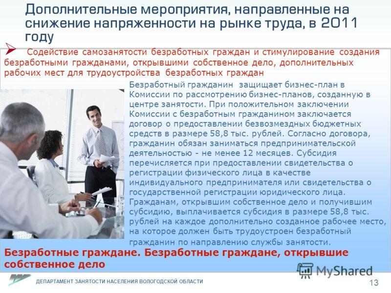 ДЕПАРТАМЕНТ ЗАНЯТОСТИ НАСЕЛЕНИЯ ВОЛОГОДСКОЙ ОБЛАСТИ 13 Дополнительные мероприятия, направленные на снижение напряженности на рынке труда, в 2011 году Содействие самозанятости безработных граждан и стимулирование создания безработными гражданами, откр