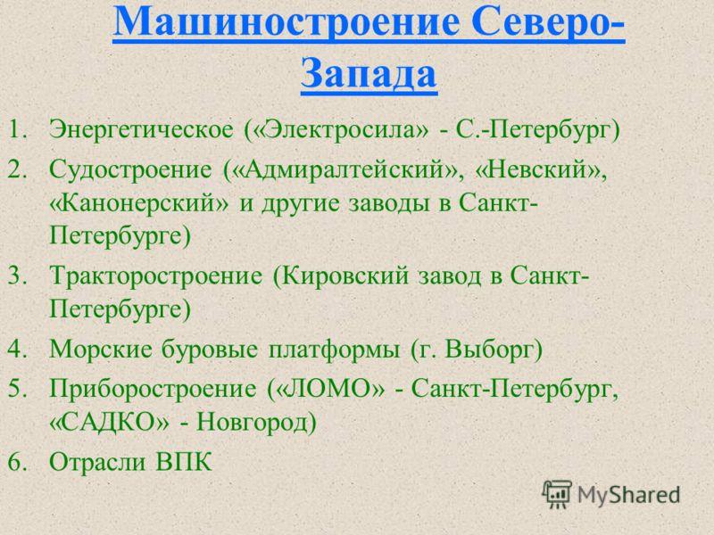 Северо-Запад. Доля в России Легкая промышленность 3.6 96.4