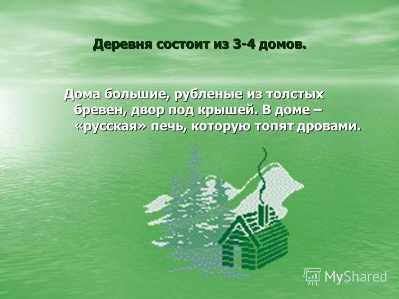 Деревня состоит из 3-4 домов. Дома большие, рубленые из толстых бревен, двор под крышей. В доме – «русская» печь, которую топят дровами.