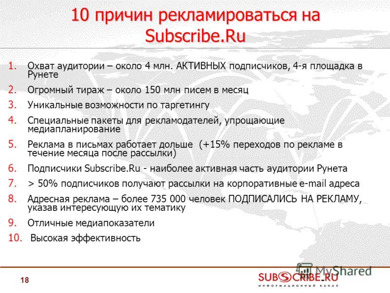 18 1. Охват аудитории – около 4 млн. АКТИВНЫХ подписчиков, 4-я площадка в Рунете 2. Огромный тираж – около 150 млн писем в месяц 3. Уникальные возможности по таргетингу 4. Специальные пакеты для рекламодателей, упрощающие медиапланирование 5. Реклама