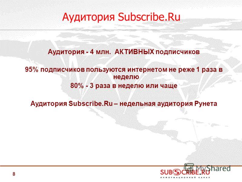 8 Аудитория Subscribe.Ru Аудитория - 4 млн. АКТИВНЫХ подписчиков 95% подписчиков пользуются интернетом не реже 1 раза в неделю 80% - 3 раза в неделю или чаще Аудитория Subscribe.Ru – недельная аудитория Рунета