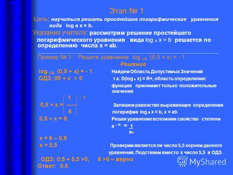 Этап 1 Цель: научиться решать простейшие логарифмические уравнения вида log а х = b. Указания учителя: рассмотрим решение простейшего логарифмического уравнения вида log а х = b решается по определению числа х = аb. __________________________________