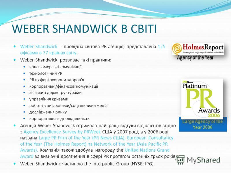 WEBER SHANDWICK В СВІТІ Weber Shandwick - провідна світова PR-агенція, представлена 125 офісами в 77 країнах світу. Weber Shandwick розвиває такі практики: консьюмерські комунікації технологічний PR PR в сфері охорони здоровя корпоративні/фінансові к
