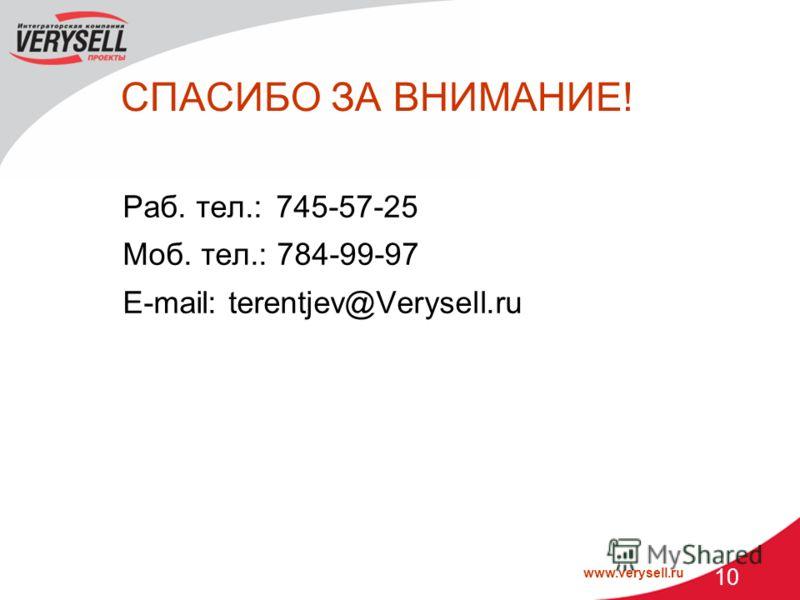 www.verysell.ru 10 СПАСИБО ЗА ВНИМАНИЕ! Раб. тел.: 745-57-25 Моб. тел.: 784-99-97 E-mail: terentjev@Verysell.ru