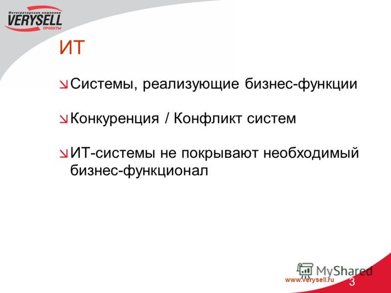 www.verysell.ru 3 ИТ Системы, реализующие бизнес-функции Конкуренция / Конфликт систем ИТ-системы не покрывают необходимый бизнес-функционал