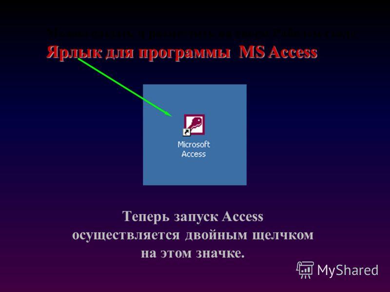 Ярлык для программы MS Access Можно создать и разместить на своем Рабочем столе Ярлык для программы MS Access Теперь запуск Access осуществляется двойным щелчком на этом значке.