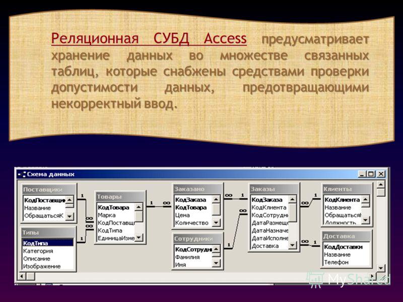 Реляционная СУБД Access предусматривает хранение данных во множестве связанных таблиц, которые снабжены средствами проверки допустимости данных, предотвращающими некорректный ввод.