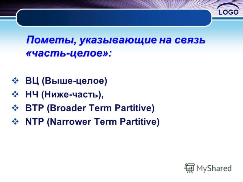 LOGO Пометы, указывающие на связь «часть-целое»: Пометы, указывающие на связь «часть-целое»: ВЦ (Выше-целое) НЧ (Ниже-часть), BTP (Broader Term Partitive) NTP (Narrower Term Partitive)